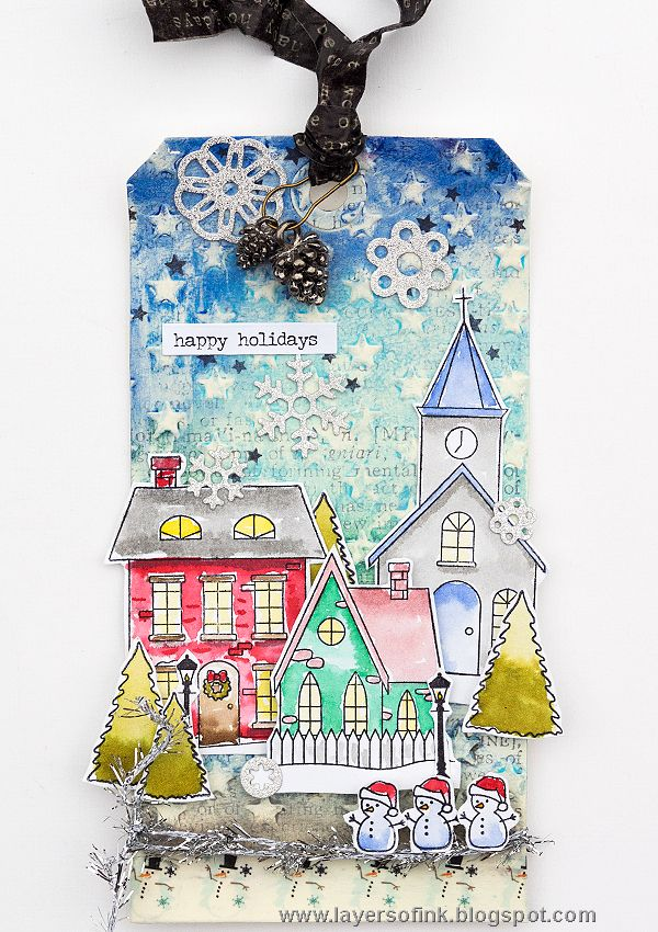 Layers of ink - Winter Christmas Village Tag Tutorial by Anna-Karin. Made for the Simon Says Stamp Monday challenge blog, using the SSS exclusive Christmas Town stamp set. Mixed media background done with Ranger Tim Holtz Distress Crayons and the SIzzix Tiny Stars embossing folder.
