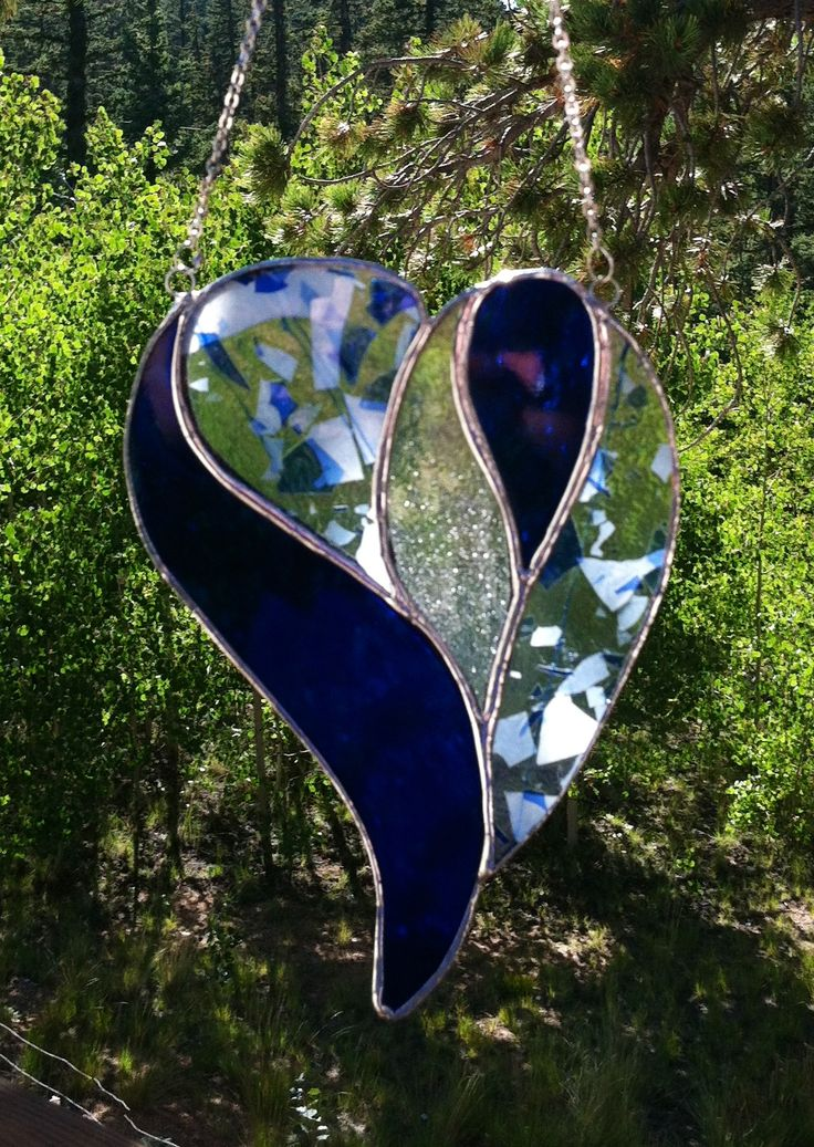 Heart stained glass sun catcher.