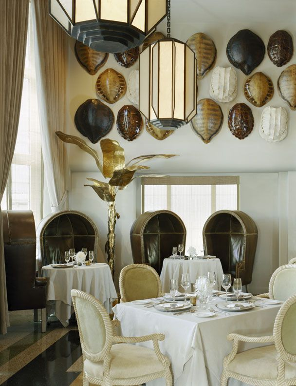 Large grouping of Tortoise Shell - The Tides La Marea by Kelly Wearstler http://www.tidessouthbeach.com/Miami-Beach-Hotels/Tides-South-Beach/Restaurant