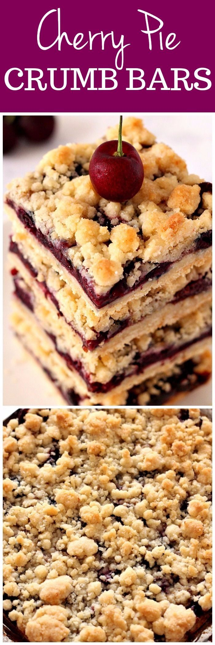 Cherry Pie Crumb Bars Recipe - quick and easy crumb bars with fresh cherry filling. Buttery crumb topping and sweet fruit filling make this a perfect summer dessert!