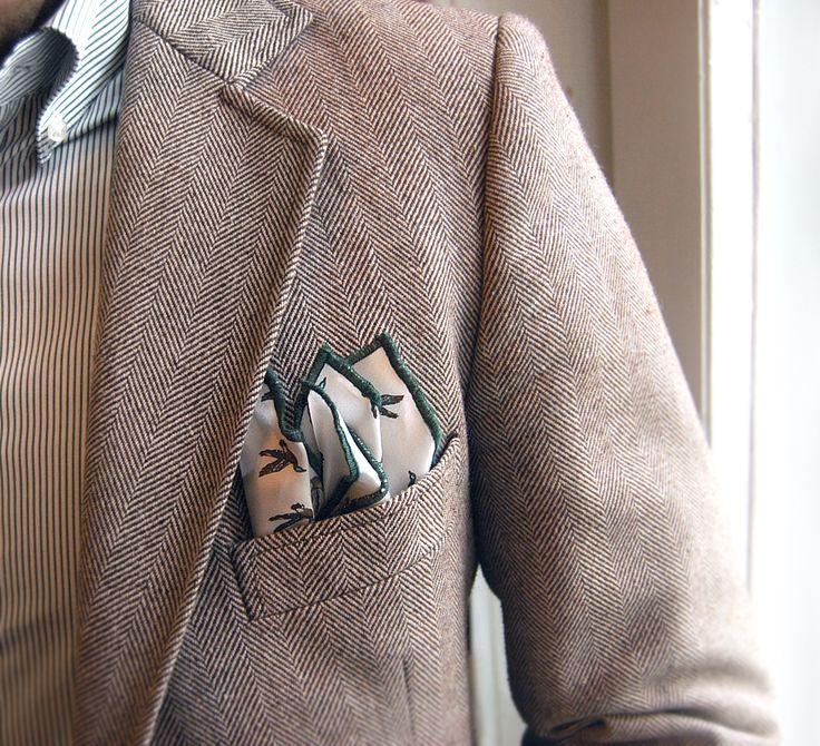 Cristian sporting a british-casual look here with herringbone jacket + ENASONI 'Hunting Series' pocketsquare