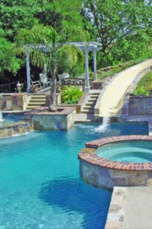 55 best dream backyards images on pinterest backyard for Swimming pool designs with slides