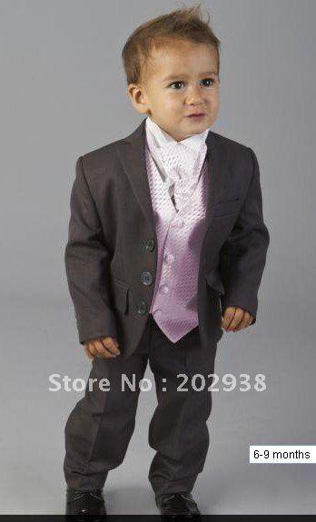 Baby Boys Grey and Pink Page Boy Suit - 4 Pieces Boy wedding suits Boy Tuxedo $100.00