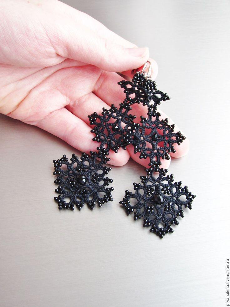 Купить Длинные кружевные серьги фриволите черные плетеные легкие - черный, черные серьги