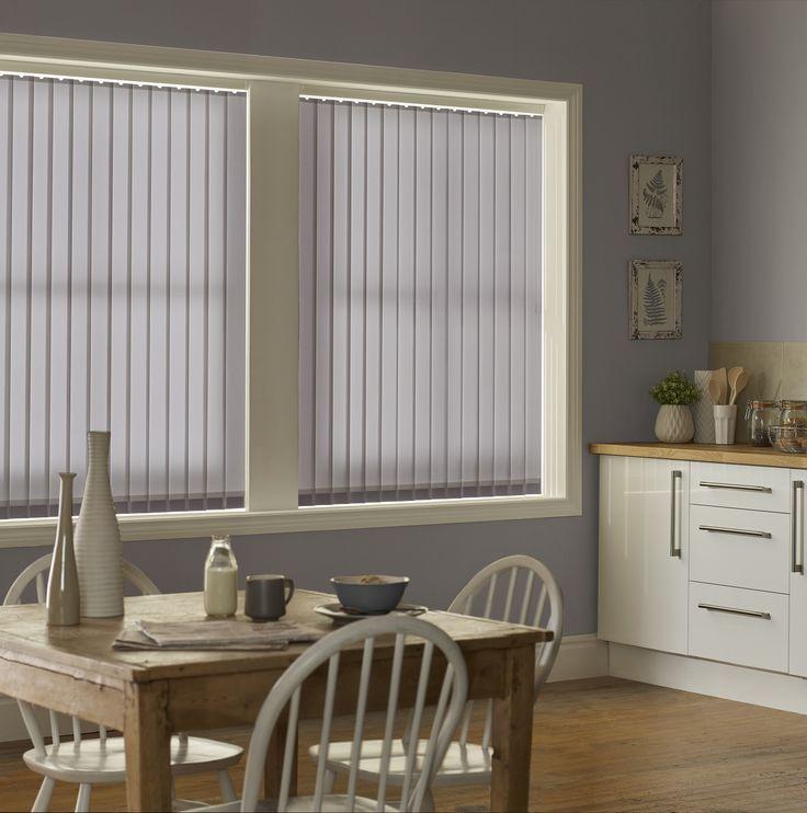 Style Studio Palette Dusk Vertical Blinds. Blue blinds. Vertical blinds. Kitchen blinds. Modern window dressing. Contemporary blue colour inspiration for the kitchen.
