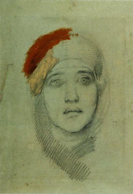 "Woman's Head (Emily L. Prahova) - Mikhail Vrubel - Study for ""Virgin and Child"""