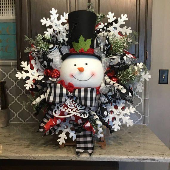 Snowman Wreath, Christmas wreath, Christmas decor, Christmas decorations, black and white ribbon 34x34