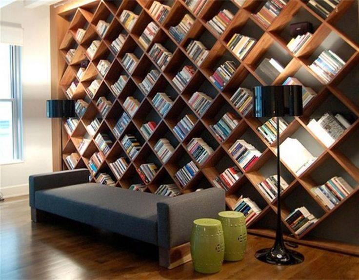 Wooden Bookshelf Wall
