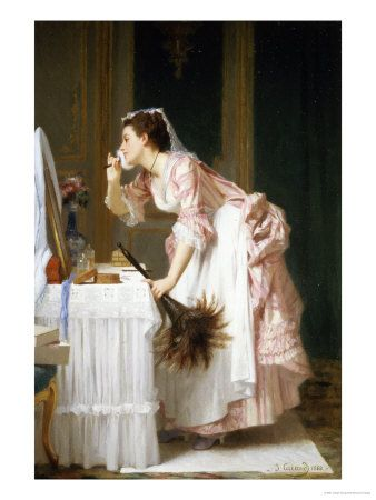 Taking a Liberty  by Joseph Caraud  The housemaid is obviously powdering her face with her mistress's cosmetics