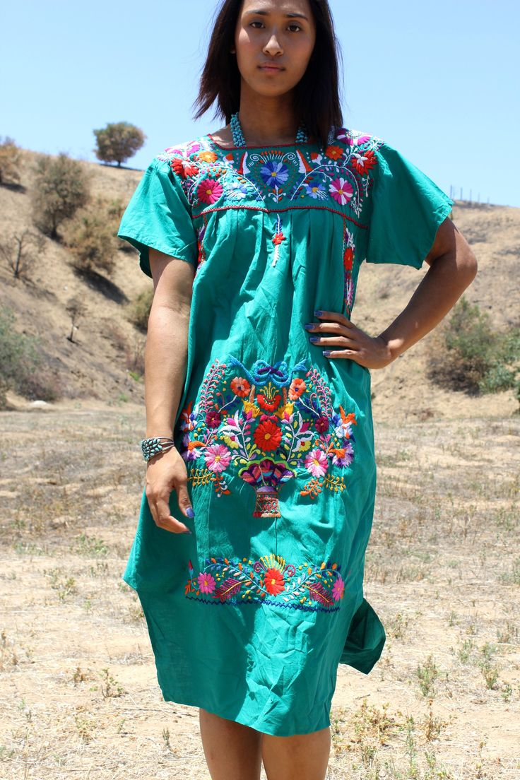 Beautiful Hand Embroidered Mexican Dress Mexican Dresses