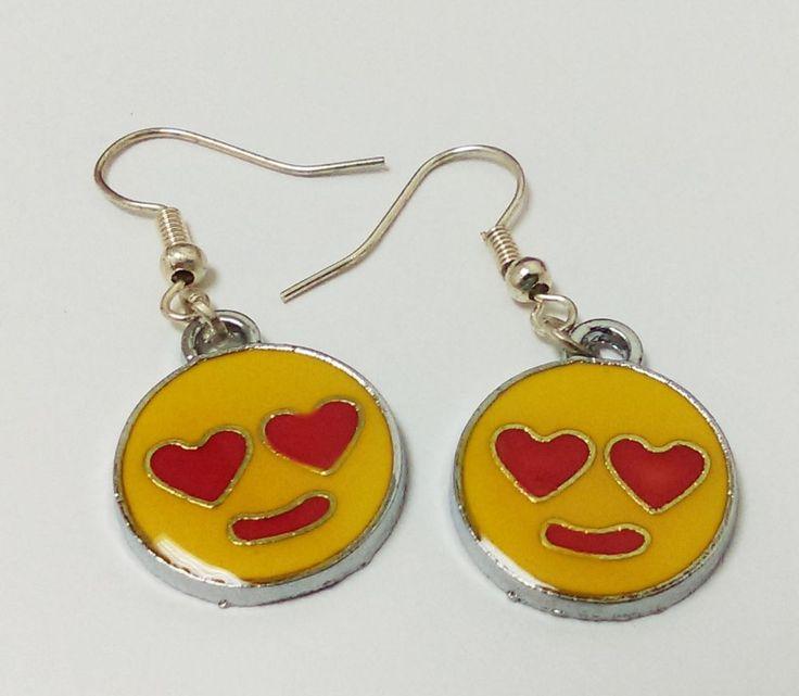 Cute in love smiley face heart icons whatsapp charm earrings enamel dangle hooks #Handmade #Charm