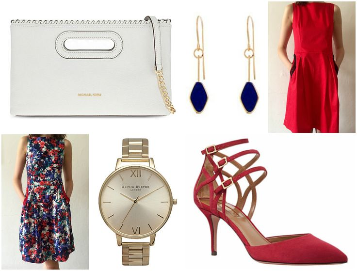 Be a best dressed guest in the new Zuzana Veselá cocktail dress in floral or red, paired with a watch from Olivia Burton Watches, a Michael Kors clutch, AQUAZZURA pumps, and earring from Greener Grass Design is at the top of our list. #weddingweek #bestdresssed