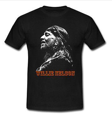 Willie-Nelson-Men-039-s-black-T-shirt-size-M-to-5XL