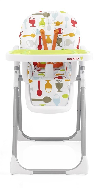 Noodle High Chairs have a 6 position height adjustable seat, 2 removable, washable trays with cup holder, 3 position seat recline (in case they drop off during lunch!) Easy to use compact fold.