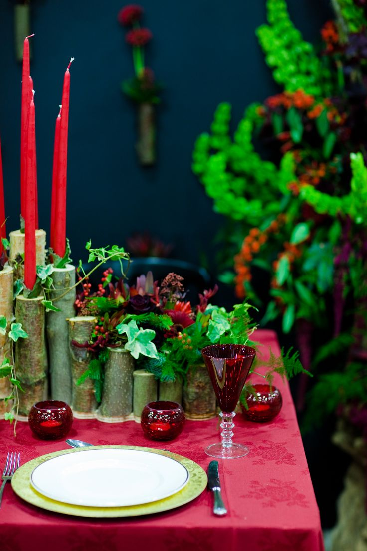 Covent garden flower market interior small 2 - Festive Red Table Decoration Using Bamboo As Candle Holders At New Covent Garden Flower Market
