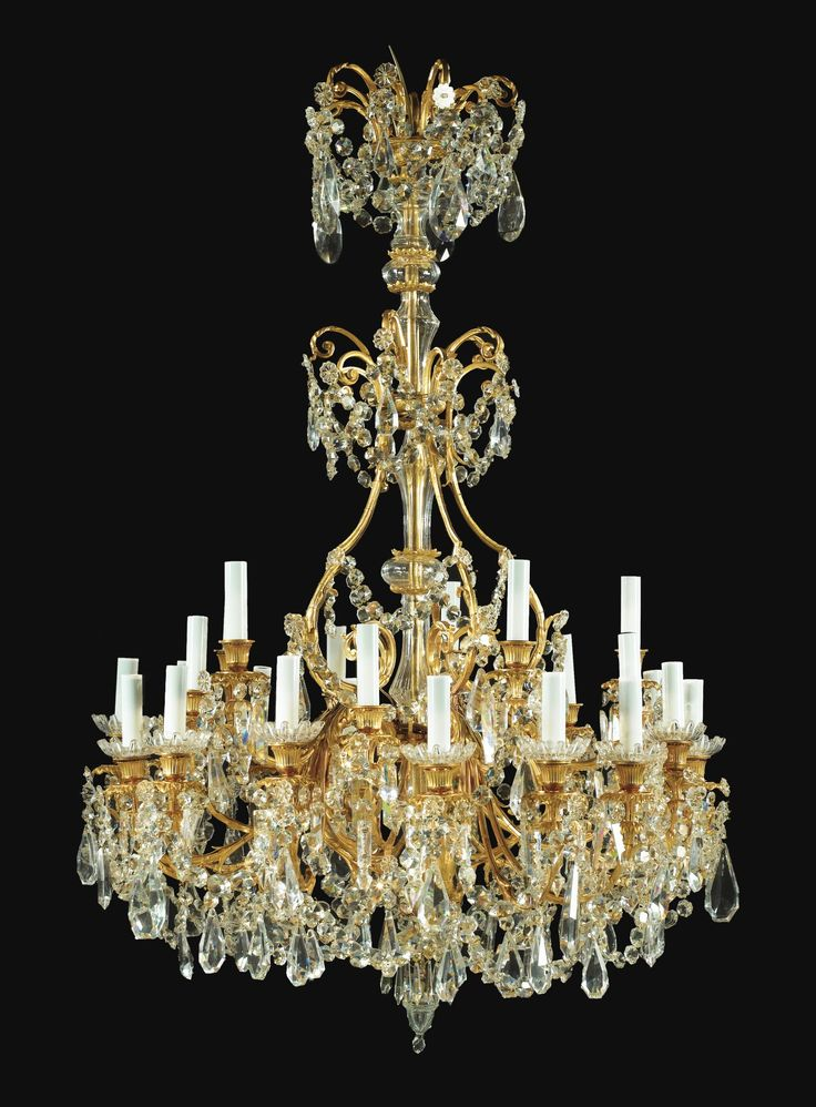 Antique French gilt metal and cut crystal