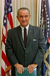 Official White House portrait of Lyndon Johnson, the 36th President of the United States, 1963-1969, assuming the position after the death of President Kennedy.  He served as vice-president under Kennedy from 1961-1963.