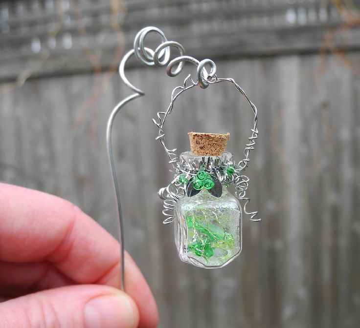 Fairy Spell in a Jar with Pretty Handmade Shepherd's Hook & Tree Hook for the Miniature Garden, Fairy Garden, Faerie Potion, Fairy Magic by Janit on Etsy