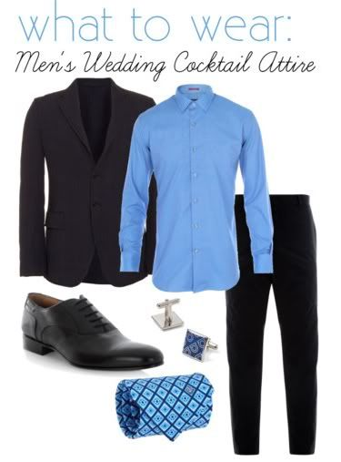 Men's wedding cocktail attire. Ohhh my husband looks so good in blue!