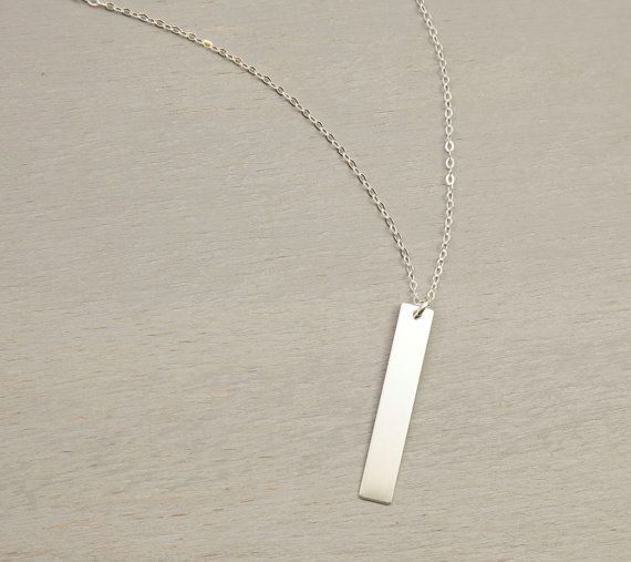 Personalized Vertical Bar Long Necklace / Simple by LayeredAndLong
