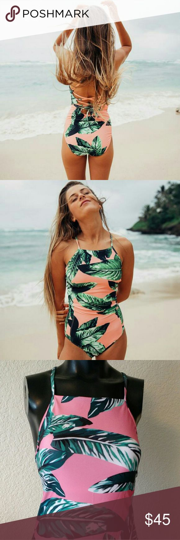 Leaf Print Waikiki Lace Up One Piece Similar to Albion Fit's Waikiki One piece. The suit runs true to size and is full coverage, not cheeky. The suit is fully lined and so fun! It does has a thin amount of cup  padding. No underwrite or pushup. Currently on the website for $128.   S 0-2 M 2-4  L 6-8 XL 8-10  *Albion Fit for exposure only* Albion Fit Swim One Pieces