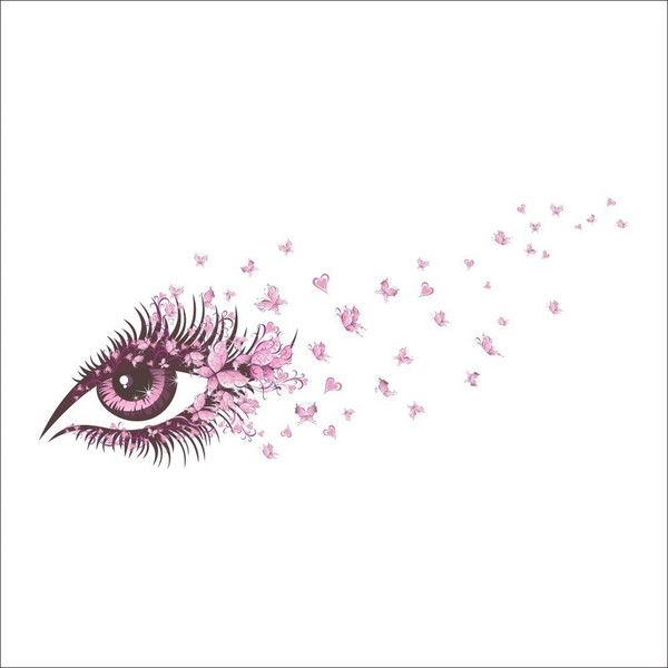 Pink Eye and Butterfly Makeup Room Bedroom Living Room Cafe PVC Pl... ($9.73) ❤ liked on Polyvore featuring home, home decor, wall art, eyes, decor, faces, text, saying, quotes and phrase