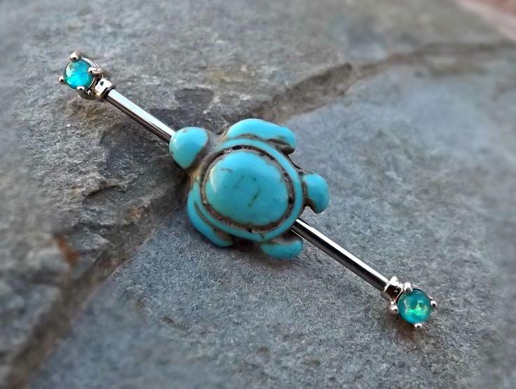 Turquoise Turtle Fire Opal Industrial Barbell 14ga Body Jewelry Ear Jewelry Double Piercing