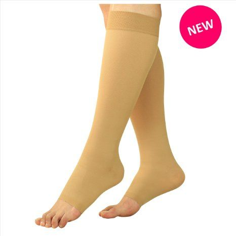 Maternity Compression Stockings - Pregnancy Tights & Leggings Knee High Open Toe