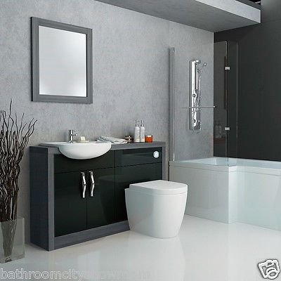 Bathroom #fitted furniture #1200mm vanity grey & black basin + wc #cabinet unit,  View more on the LINK: http://www.zeppy.io/product/gb/2/331778792910/