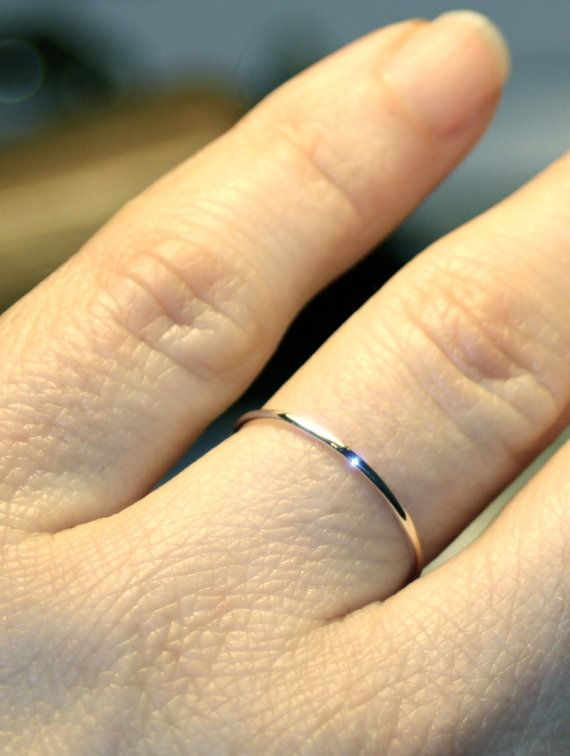 Very Thin White Gold Band 1mm 14k White Gold Wedding Ring Handmade Full Round Smooth Plain Simple Skinny Classic Dainty Elegant Stacking