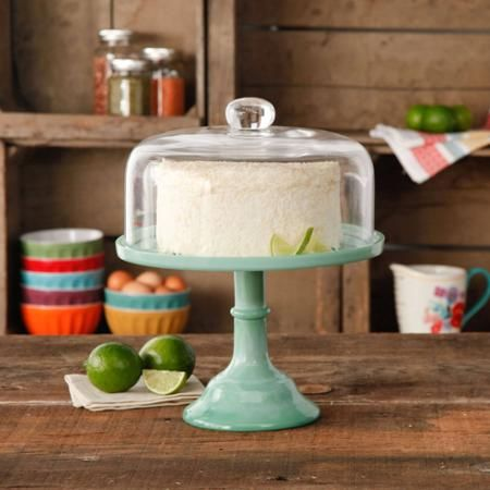 "The Pioneer Woman Jadeite 10"" Cake Stand with Glass Cover - Walmart.com:"