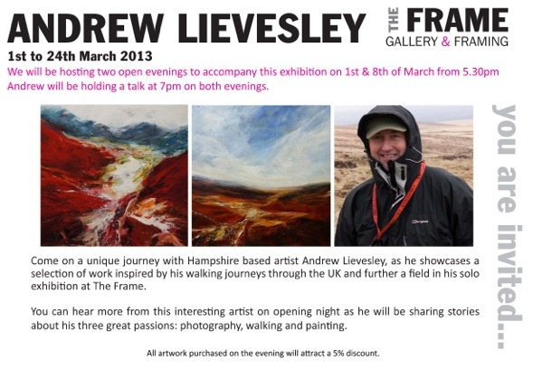 Next event starts 1st March exhibiting Andrew Lievesley. He will hold 2 open evenings on the 1st & 8th of March which will include a talk from Andrew @ 7pm
