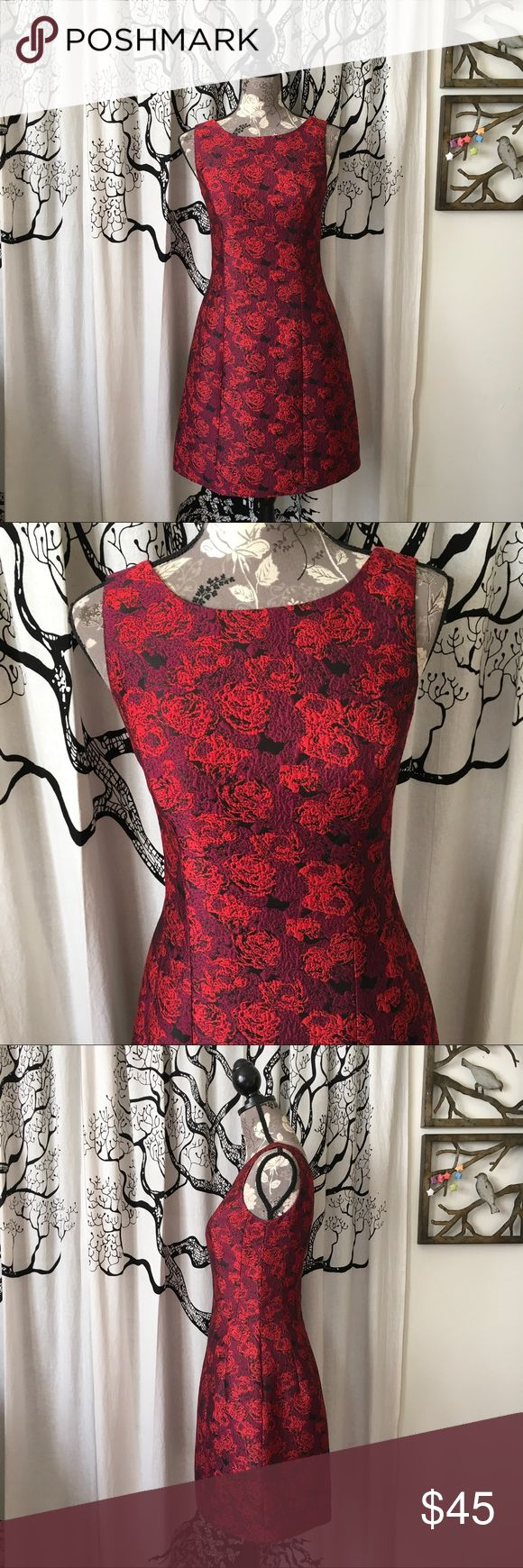 "Aidan Mattox Brocade Fit & Flare Dress w/ Pockets Absolutely stunning brocade fit and flare dress by Aidan Mattox in a gorgeous red floral. Pockets! Great structure and lines. Fully lined. Perfect, like new condition with no flaws (worn once and dry cleaned). 18.5"" B, 14"" W, 34"" L. This is a stunner of a dress, and the photos don't do it justice! Aidan Mattox Dresses Mini"
