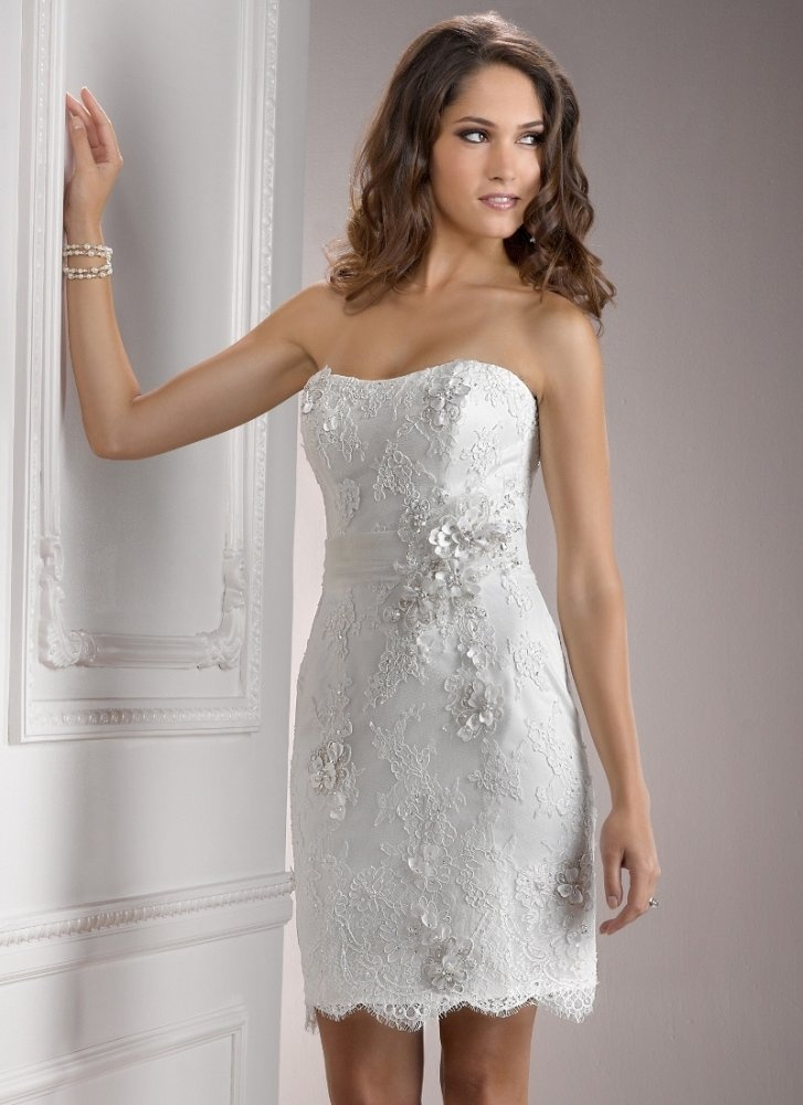 Sheath strapless flower accent scalloped hem lace tea for Short lace sheath wedding dress