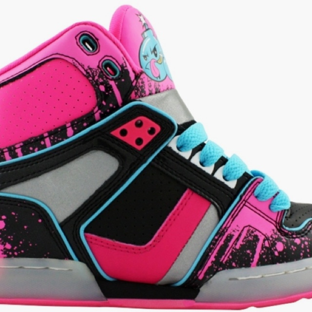 Splattered Pink Black and Blue Osiris Shoes