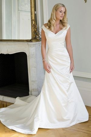 V-Neck Fit and Flare Wedding Dress with Natural Waist in Duchess Satin. Bridal Gown Style Number:33299587