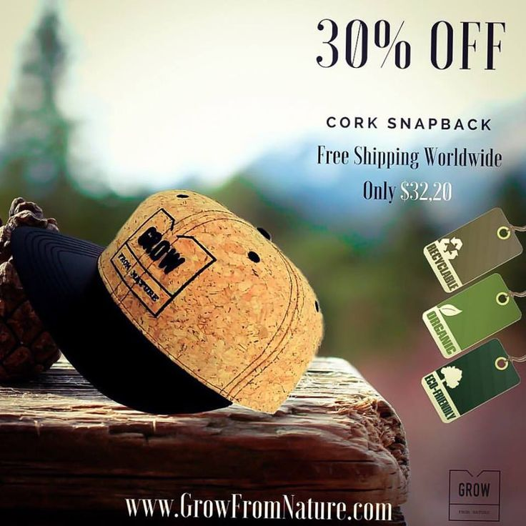 "30% OFF, Snapback made from Cork, limited quantity, Order Now. It's Eco-sustainable and very fashionable. Finished with a synthetic leather flat brim and a cool message inside: ""Simplicity is the ultimate sophistication"""