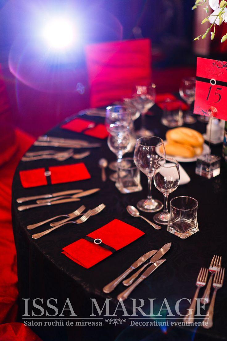 aranjamente nunta issamariage bucuresti negru cu rosu