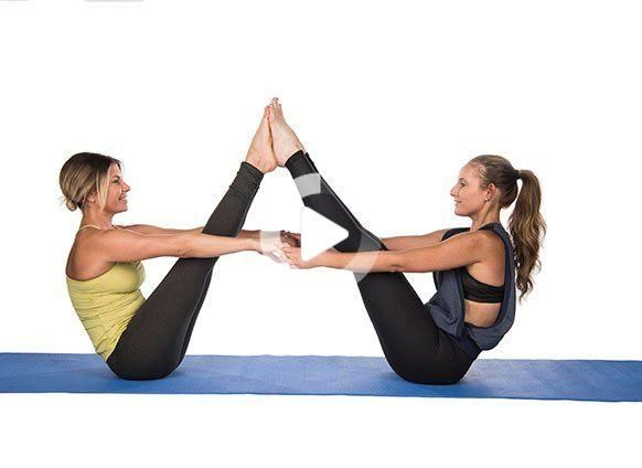 Buddy Up And Try These 2 Person Yoga Poses Yoga Poses For Two Hard Yoga Poses Two Person Yoga Poses