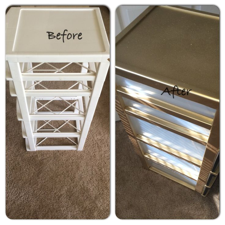 I just took an old plastic bin and wiped it down. Then I spray painted the outer parts first with a metallic/gold then got a spray paint gold glitter and put that over it. The front of the bins are painted in the chalkboard paint to help label my drawers! Very simple and took me maybe 30 minutes all together. Easy office decorations