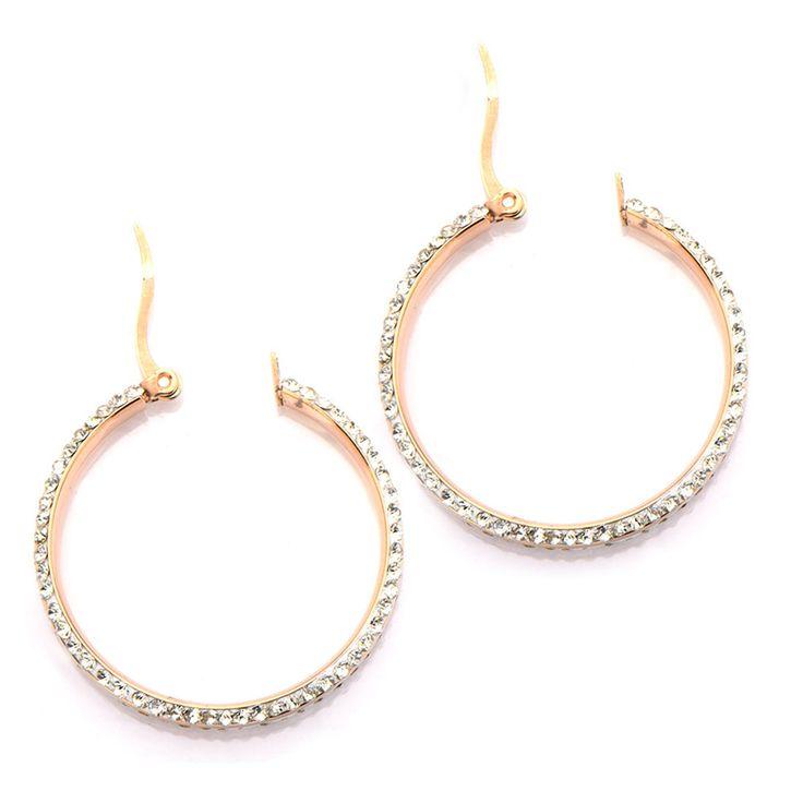 Inox 316L Steel Rose Gold IP Double Row Crystal Ferido Hoop Earrings