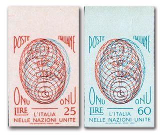 """I francobolli di prova  """"ONU"""" (1956)"""
