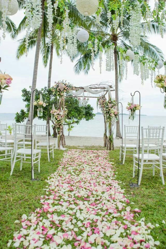 Dream Catchers Events, Thailand,  Koh Samui wedding planner // beach front lawn, rustic, aisle decor hanging mason jars, vintage, chandelier, wedding ceremony