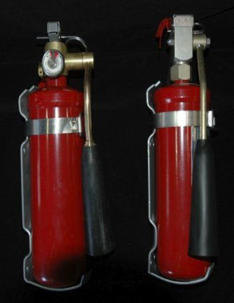 Halon fire extinguishers offer inexpensive protection against inflight fires. It works in gas form, so it will not obscure your vision like the powder emitted from dry chemical extinguishers. Basically, it's invisible.