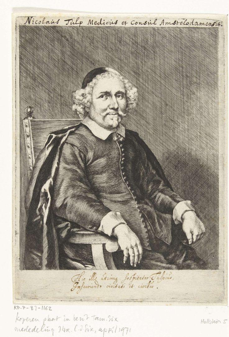 Jan de Bisschop | Portret van Nicolaas Tulp, Jan de Bisschop, 1638 - 1671 | Portret van dr. Nicolaas (Claes Pieterszoon) Tulp, een van de beroemdste artsen uit de 17e eeuw en burgemeester van Amsterdam. Kniestuk, zittend op een stoel, naar rechts gekeerd.