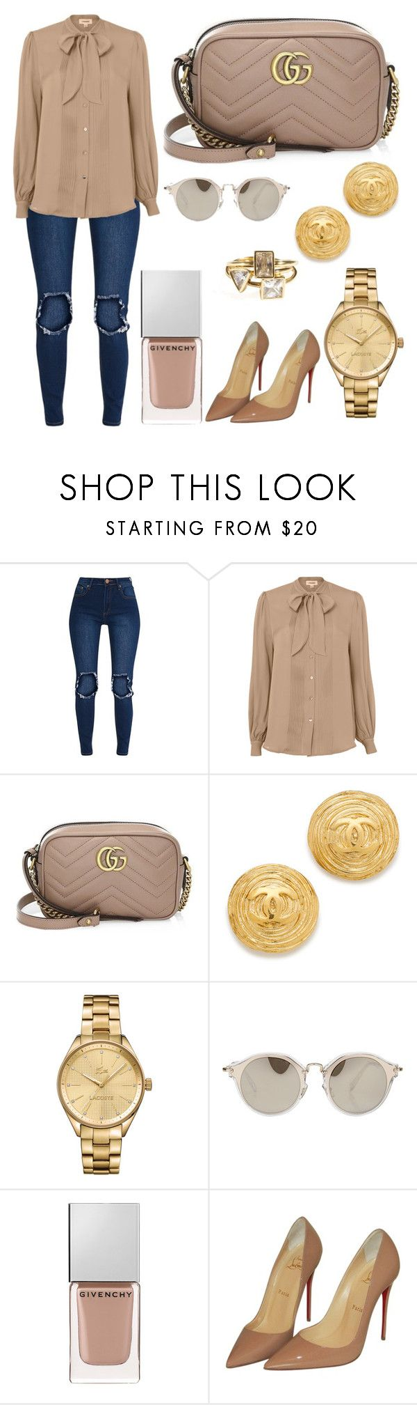 """""""Untitled #9887"""" by tatyanaoliveiratatiana ❤ liked on Polyvore featuring L'Agence, Gucci, Lacoste, Miu Miu, Givenchy and Christian Louboutin"""