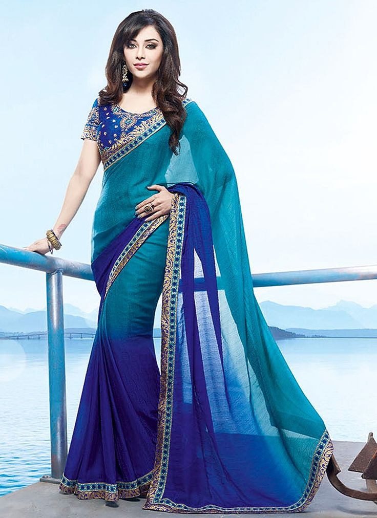 Engrossing Teal Faux Georgette Saree