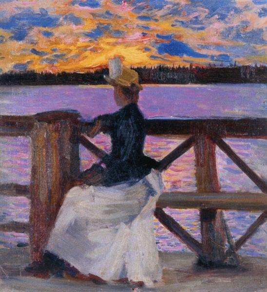Mary Gallén on the Kuhmoniemi Bridge 1890 Akseli Gallen-Kallela
