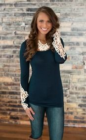 All I Need Lace Sleeve Blouse Navy