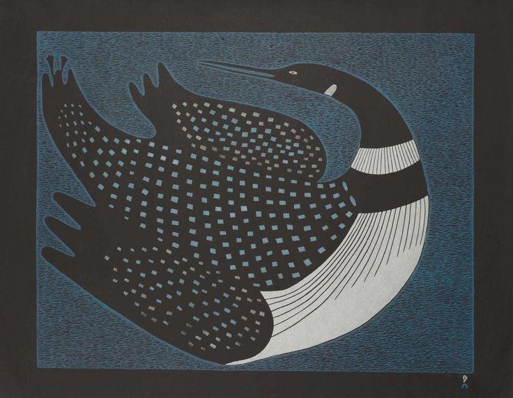 Ningeokuluk Teevee - Moon Dance 24 x 32 Stonecut and Stencil (2011)